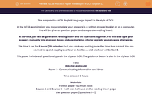 'GCSE Practice Paper in the style of OCR English Language Paper 1' worksheet