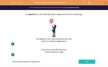 'Identify Adjectives in Sentences 1' worksheet