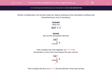 'Written Multiplication of Three-Digit Numbers by One-Digit' worksheet