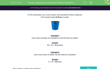 'Multiplication and Division Problems Related to Capacity' worksheet