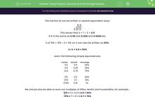 'Using Fraction, Decimal and Percentage Equivalences' worksheet