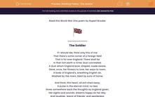 'Reading Poetry: 'The Soldier'' worksheet