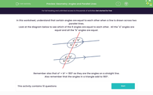 'Geometry: Angles and Parallel Lines' worksheet