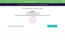 'Squaring Numbers' worksheet