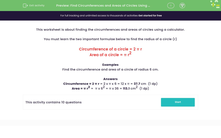 'Find Circumferences and Areas of Circles Using a Calculator' worksheet