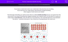 'Understand Metallic Bonding' worksheet