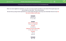 'Solve Simple Mixed Equations (1)' worksheet