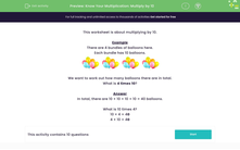 'Know Your Multiplication: Multiply by 10' worksheet