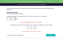 'Increase and Decrease Numbers by the Given Percentages' worksheet