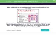 'Interpreting Timetables: When's the Next Train? (3)' worksheet