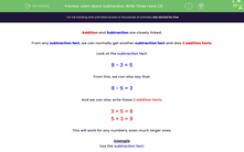 'Learn About Subtraction: Write Three Facts (2)' worksheet