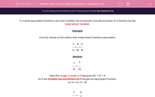 'Work Out the Missing Numbers in Equivalent Fractions' worksheet