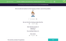 'Addition and Subtraction: Find the Number (1-10)' worksheet