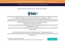 'Explore Theme Development in 'The Merchant of Venice'' worksheet