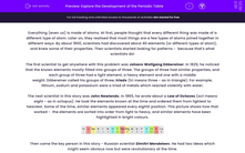 'Explore the Development of the Periodic Table' worksheet
