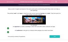 'Know Your Prefixes: audi- and aqua-' worksheet