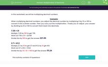 'Multiplication of Decimals' worksheet