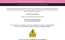 'Rhyming Synonyms and Antonyms Practice 1' worksheet