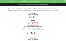 'Add or Subtract Mixed Numbers' worksheet