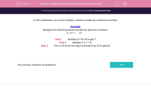 'Multiply a Whole Number by a Decimal Number' worksheet