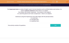 'Passive Sentences: Understand the Impersonal Voice' worksheet