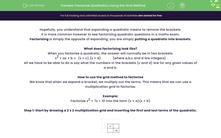'Factorise Quadratics Using the Grid Method' worksheet