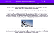 'Apply the Gravitational Energy Equation' worksheet