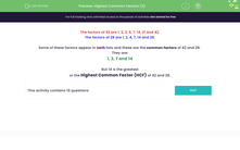 'Highest Common Factors (3)' worksheet