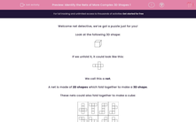 'Identify the Nets of More Complex 3D Shapes 1' worksheet