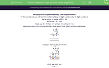 'Multiply Four-Digit Numbers by Two-Digit Numbers' worksheet