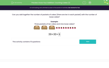 'Know Your Addition: Counting Cakes (1)' worksheet