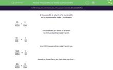 'Thousandths as Tenths and Hundredths' worksheet