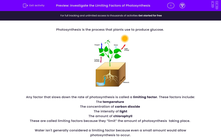 'Investigate the Limiting Factors of Photosynthesis' worksheet