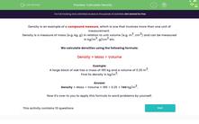 'Calculate Density' worksheet