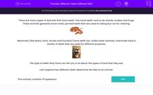 'Different Teeth, Different Diet' worksheet