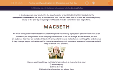 'Identify and Explain Key Characters and their Development in 'Macbeth'' worksheet