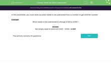 'What Has Been Subtracted?' worksheet