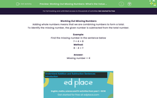 'Working Out Missing Numbers: What's the Value (0-20)?' worksheet