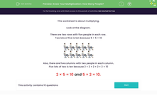 'Know Your Multiplication: How Many People?' worksheet