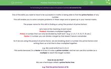 'Find Prime Factors' worksheet