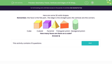 'Geometry: Faces, Vertices and Edges of 3D Shapes' worksheet