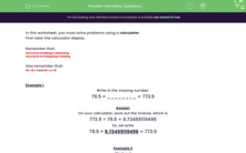 'Calculator Questions' worksheet