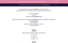 'Equations: Solutions to Simple Equations with Two Unknowns' worksheet