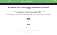 'Dividing Fractions' worksheet