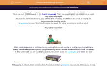 'Word Meaning: Synonyms' worksheet