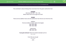'Addition and Subtraction: Find Three Facts' worksheet