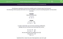 'Solving Simultaneous Equations' worksheet