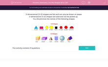 'Geometry: Are the Shapes 2D or 3D?' worksheet