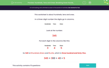 'Hundreds, Tens and Ones: Breaking Down Numbers (3)' worksheet