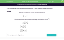 'Put Two Fractions in Order' worksheet